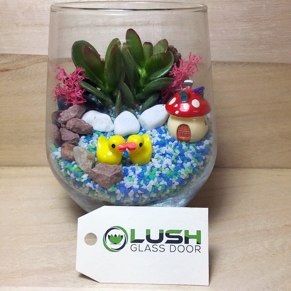 Customised Cute Duckling Themed Succulents Terrarium by Lush Glass Door Singapore