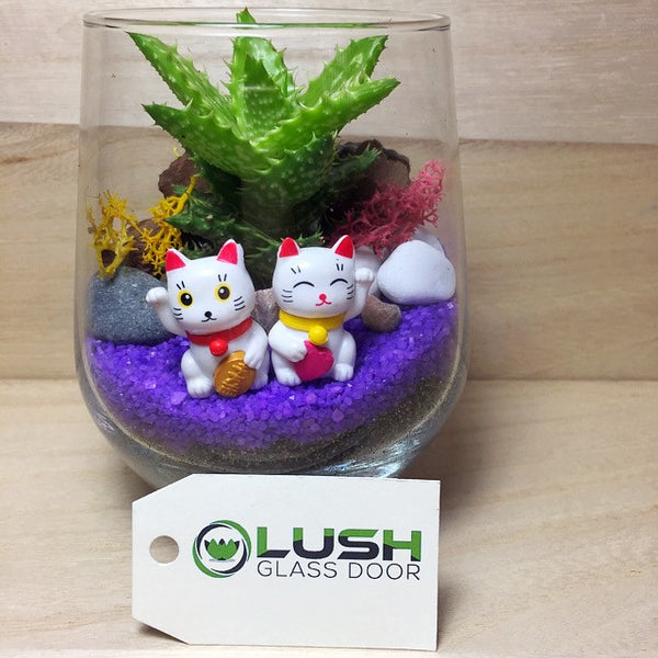 Customised Cute Fortune Cats Themed Succulents Terrarium by Lush Glass Door Singapore