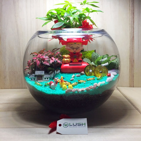 Customized Loris Auspicious CNY Terrarium by Lush Glass Door Singapore