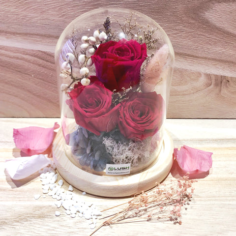 Customized Kelsey Eternal Rose Preserved Flower Glass Dome by Lush Glass Door Singapore