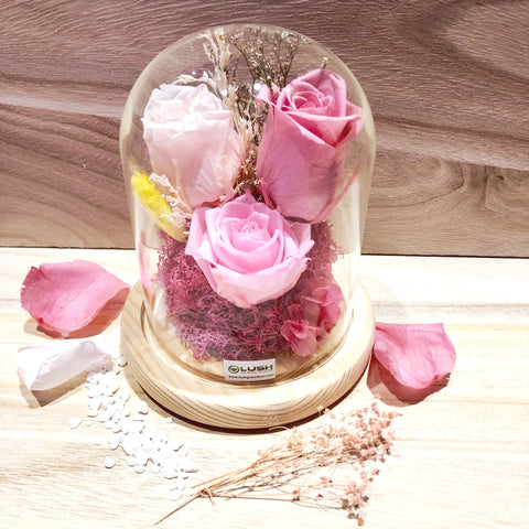 Customized Calista Eternal Rose Preserved Flower Glass Dome by Lush Glass Door Singapore