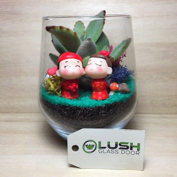 Customized Cute Oriental Wedding Couple Themed Succulents Terrarium by Lush Glass Door Singapore