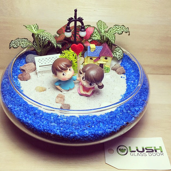 Customized Loving Couple by the Lake Themed Fittonia Mid Range Terrarium by Lush Glass Door Singapore
