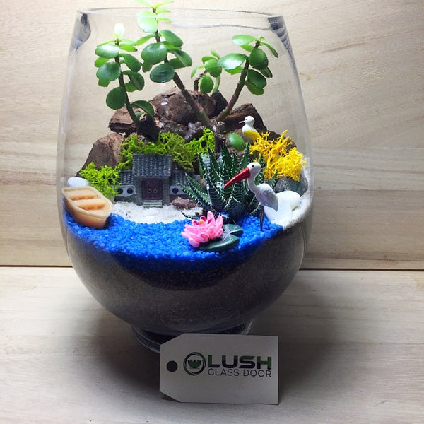 Customized Auspicious Crane Bird Scenic Succulents Terrarium by Lush Glass Door Singapore