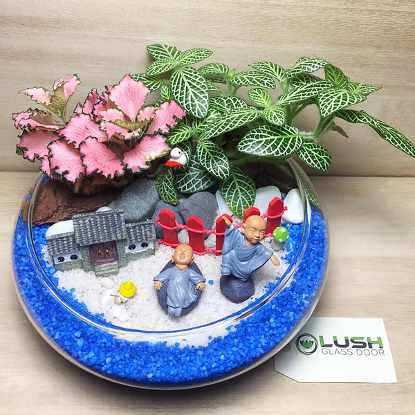 Customized Shaolin Monks by the Lake Themed Fittonia Mid Range Terrarium by Lush Glass Door Singapore