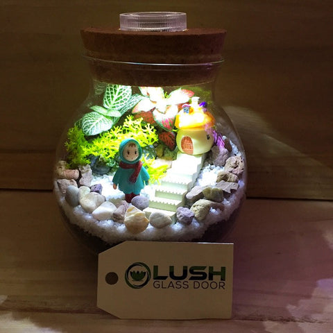 Customized Girl by The Stairs Themed Fittonia Terrarium with Light by Lush Glass Door Singapore