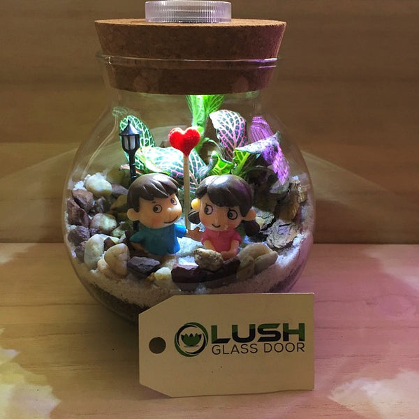 Customized Love Story Themed Fittonia Terrarium with Light by Lush Glass Door Singapore