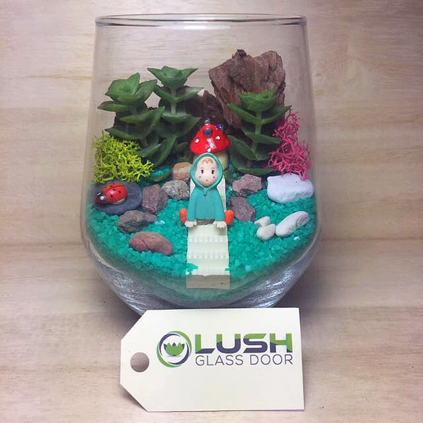 Customised Little Girl at Stairways Themed Succulent Terrarium by Lush Glass Door Singapore