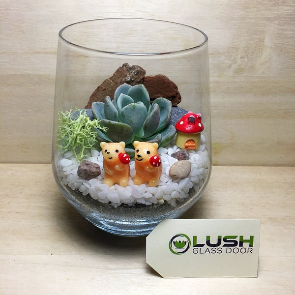 Customised Hedgehog In Love Themed Succulent Terrarium by Lush Glass Door Singapore