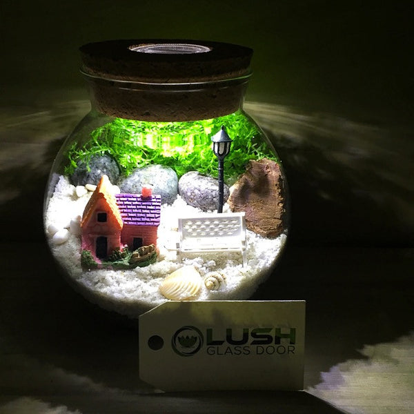 Customized By the Park Themed Moss Terrarium with Light by Lush Glass Door Singapore