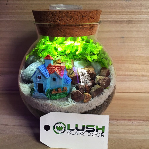 Customized House Themed Moss Terrarium with Light by Lush Glass Door Singapore
