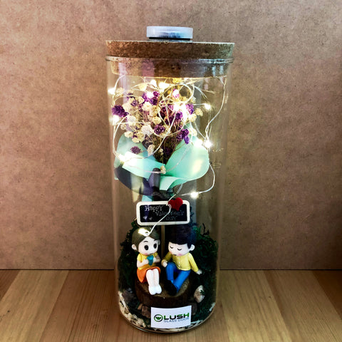 Customized Yuki Eternal Baby Breath Dried Flower Fairy Light Glass Jar by Lush Glass Door Singapore