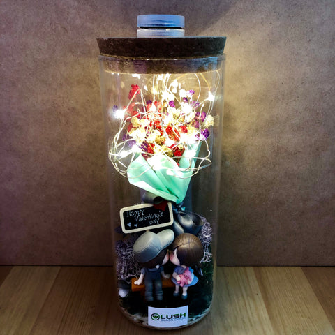 Customized Colm Eternal Baby Breath Dried Flower Fairy Light Glass Jar by Lush Glass Door Singapore