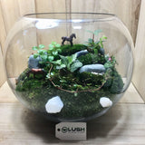 Customized Top of The World Themed Moss Terrarium Centerpiece by Lush Glass Door Singapore