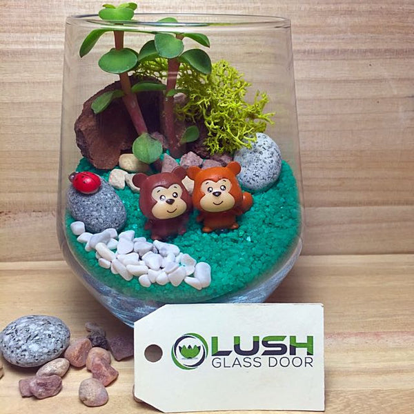 Customized Cute Squirrels Themed Succulents Terrarium by Lush Glass Door Singapore