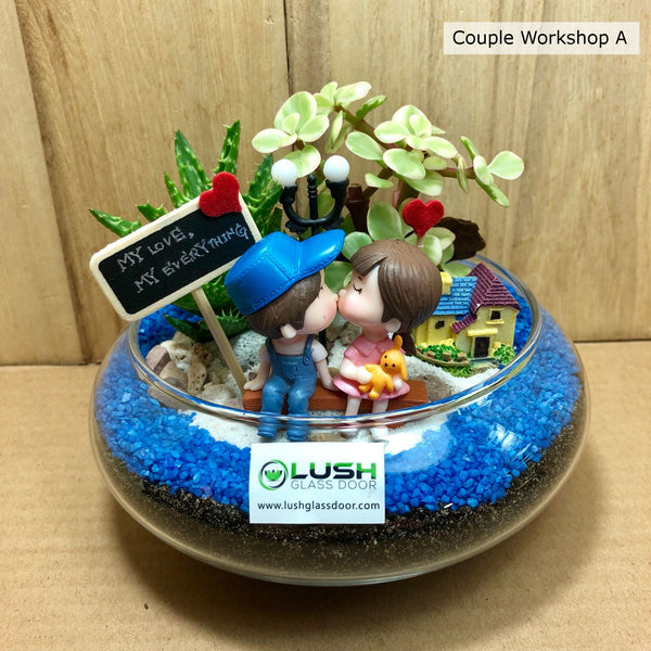 Valentine Day Couple Terrarium Workshop Package A