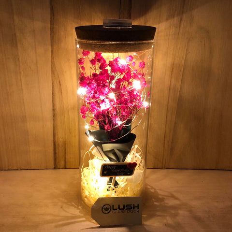 Customised Kisa Eternal Baby Breath Fairy Light Glass Jar by Lush Glass Door Singapore