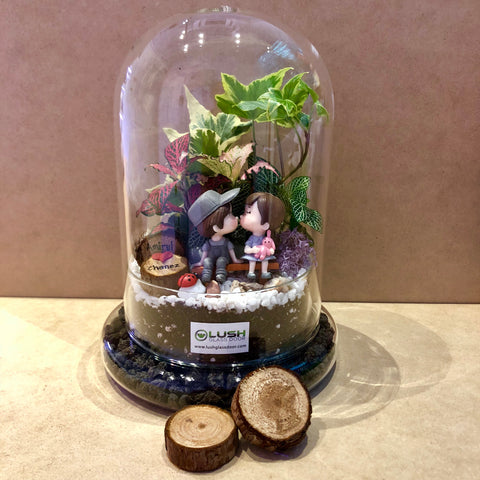 Customized Nadine Love Forever Dome Terrarium (L) by Lush Glass Door Singapore