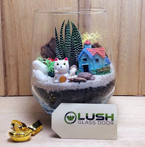 Customized Marsh Auspicious Succulent Terrarium by Lush Glass Door Singapore