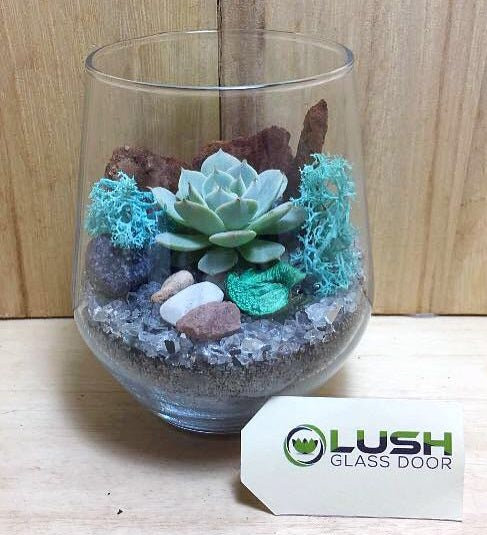 Customised Foster Zen Themed Succulent Terrarium by Lush Glass Door Singapore