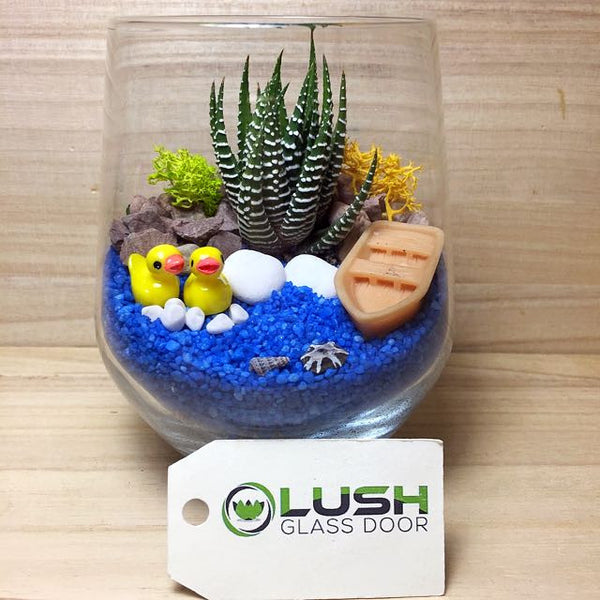 Customized Cute Duck by the Pond Themed Succulents Terrarium by Lush Glass Door Singapore