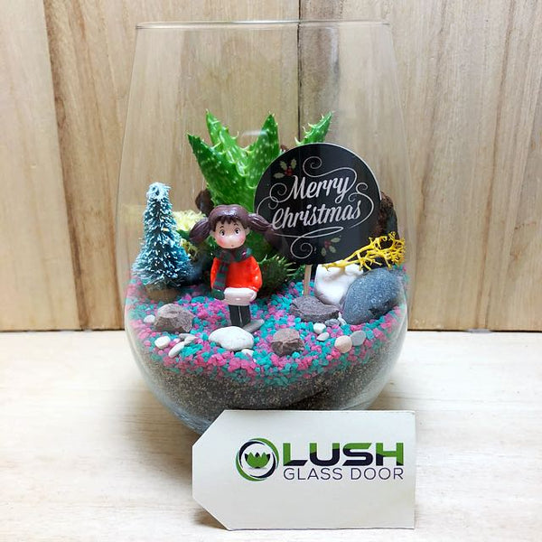 Customized Step Into Christmas Succulent Terrarium by Lush Glass Door Singapore
