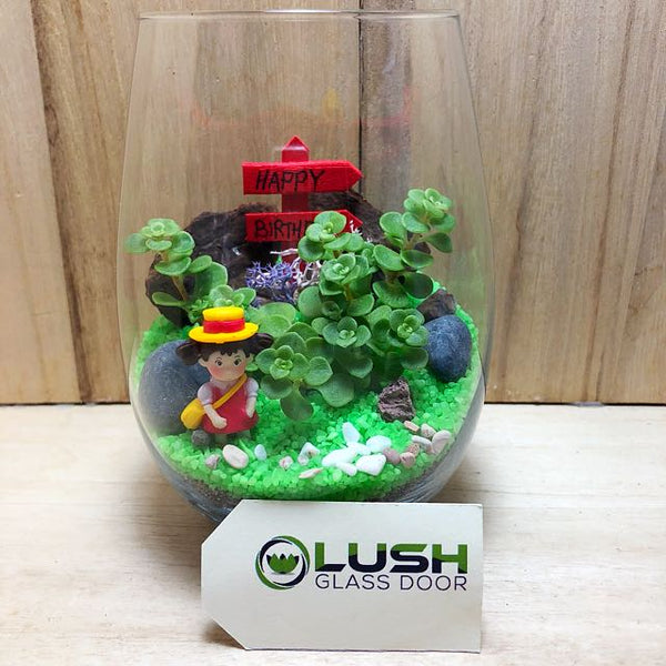 Customized Best Female Friend Succulent Terrarium by Lush Glass Door Singapore