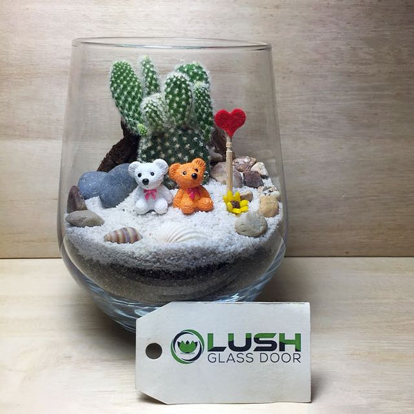 Customised Bears In Desert Themed Succulents Terrarium by Lush Glass Door Singapore