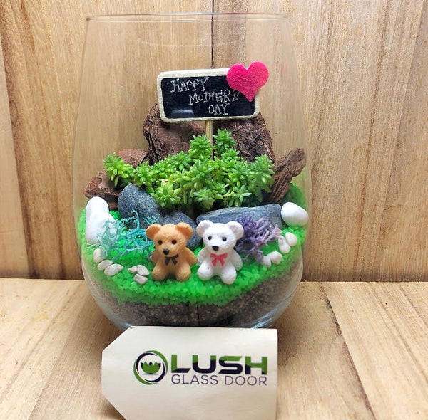 Customized Mother's Day Aalliya Succulent Terrarium by Lush Glass Door Singapore