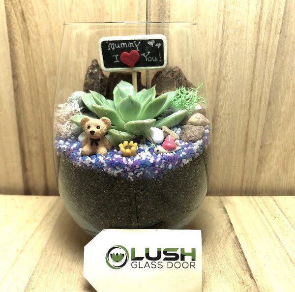 Customized Mother's Day Irving Succulent Terrarium by Lush Glass Door Singapore