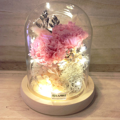 I Love Mum Eternal Carnation Preserved Flower Glass Dome