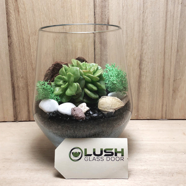 Customised Sienna Zen Themed Succulent Terrarium by Lush Glass Door Singapore