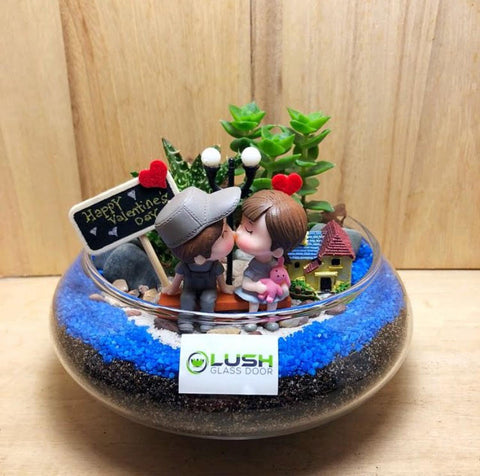 Customized You Are The Love of My Life Themed Succulents Mid Range Terrarium by Lush Glass Door Singapore