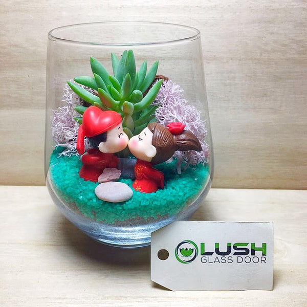 Customised Loving Wedding Couple Themed Succulent Terrarium by Lush Glass Door Singapore