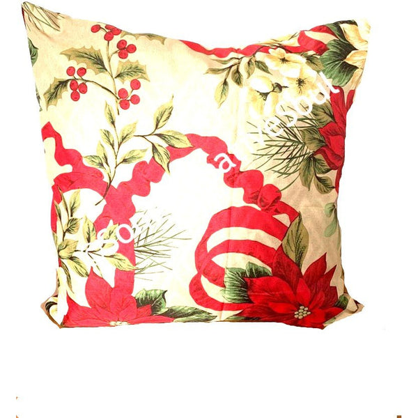18x18 Christmas Red Floral Envelope Pillow Cover