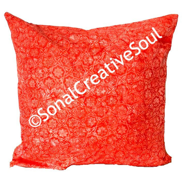 18x18 Christmas Red Batik Envelope Pillow Cover