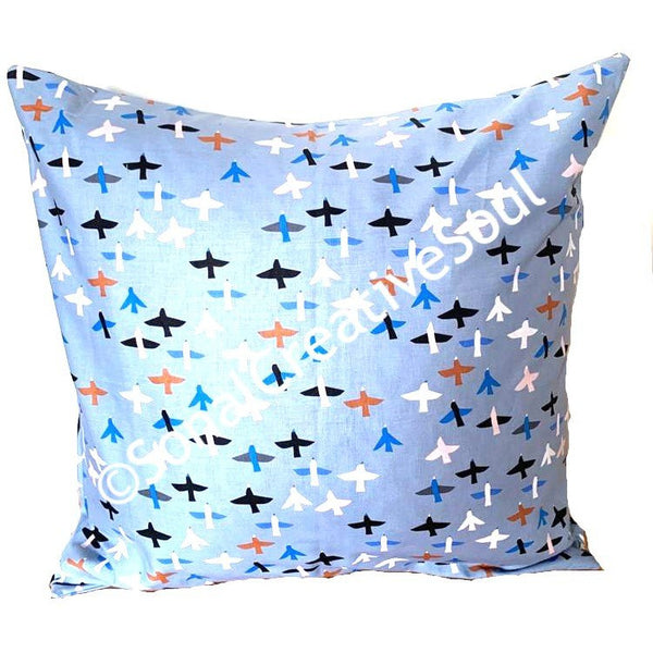 18x18 Blue Sky Birds Envelope Pillow Cover