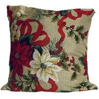 18x18 Red Biege Christmas Floral Envelope Pillow Cover - SonalCreativeSoul
