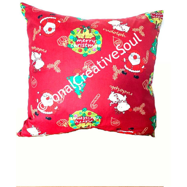 18x18 Red Green Christmas Envelope Pillow Cover.