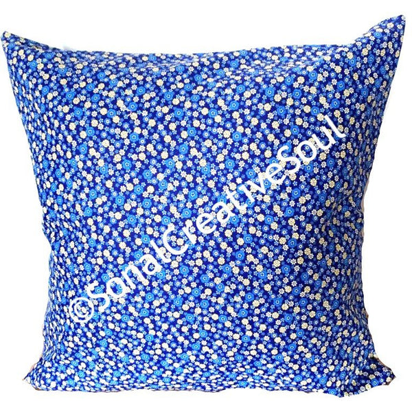 18x18 Blue Yellow Flowers Envelope Pillow Cover