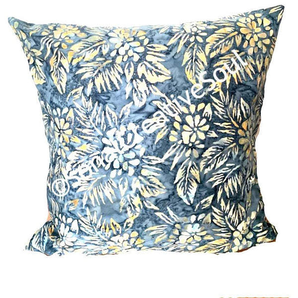 18x18 Floral Batik Outdoor Envelope Pillow Cover