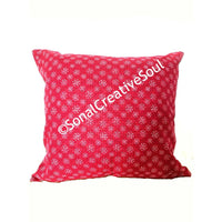 18x18 Red White Snowflakes Envelope Pillow Cover.