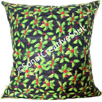 18x18 Green Red Flowers Envelope Pillow Cover.