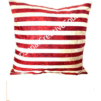 18x18 Holiday Golden and Red Stripes Envelope Pillow Cover.