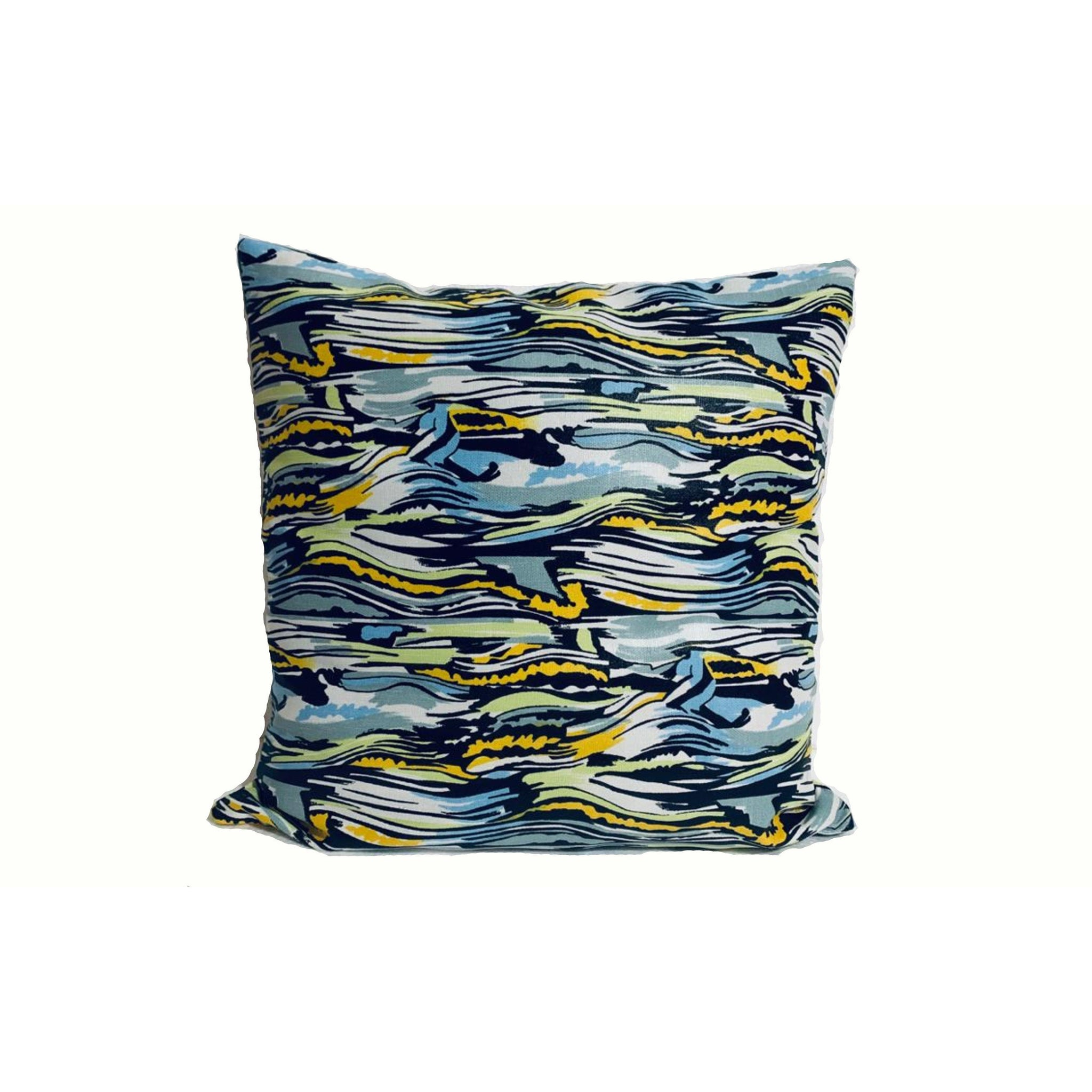 18x18 Light Blue Yellow Marble Print Envelope Pillow Cover