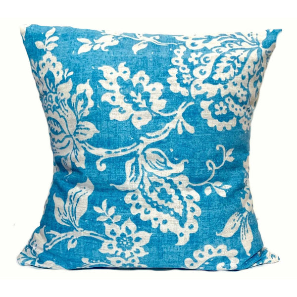 16x16 Blue White Envelope Floral Pillow Cover.