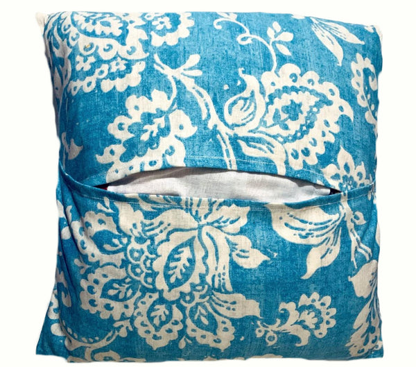 16x16 Blue White Envelope Floral Pillow Cover