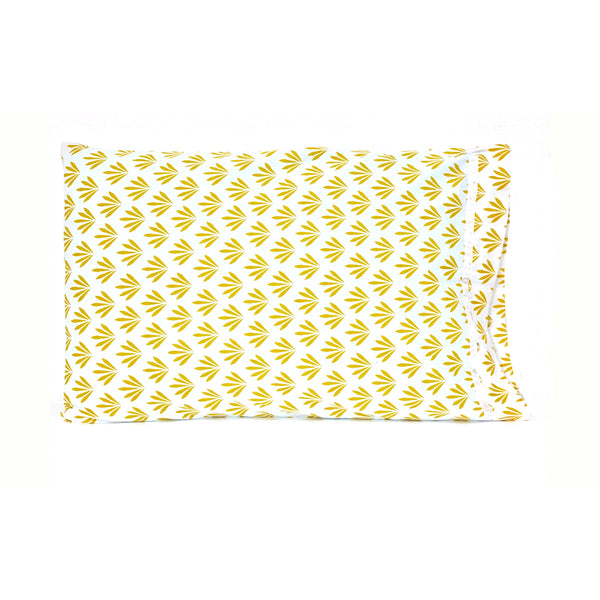 Yellow White Floral Leaves 20x30 Pillowcase Set of Two PillowCases.