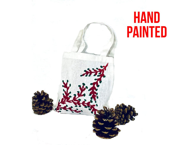 Red Branch Green Leaves Hand Painted Cotton Canvas Tote Bag