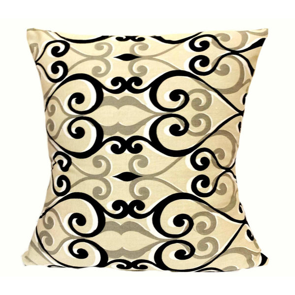 16x16 Biege Black Pattern Envelope Pillow Cover